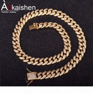 """Finish Men's 12mm Heavy Iced Out Zircon Miami Cuban Link Necklace Choker Bling Bling Hip hop Jewelry Gold Silver Chain 18"""" 20&quot"""