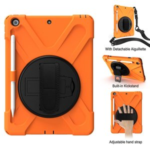 Armor Shockproof Hand Shoulder Strap Case for Apple iPad 9.7 2018 2017 5th 6th Generation Cover Coque Funda + Pencil Holder