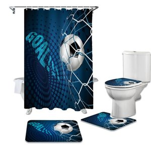 Soccer Balls Football Design Shower Curtain Sets Non-Slip Rugs Toilet Lid Cover and Bath Mat Waterproof Bathroom Curtains