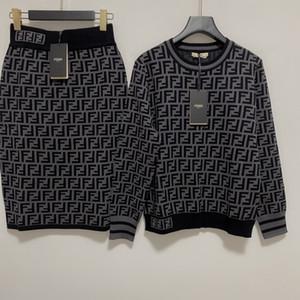 2020 manteaux tricotés et jupe courte 2 Sets Pièces femmes Imprimer court manteau Marque même style lâche 2 pièces Ensembles Femmes 1015-9