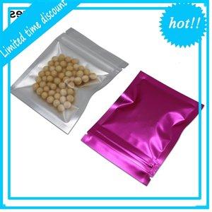 100 팩 클리어 / 핑크 알루미늄 지퍼 식품 보관 파우치 resealable mylar 히트 씰 샘플 패킷 호일 헐지가 찢어진 노치