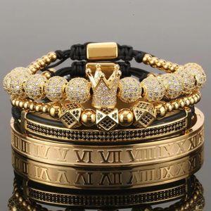 4pcs set Gold Hip Hop Hand Made Bead Bracelet Men Copper Pave CZ Zircon Crown Roman Numeral Bracelets & Bangles Jewelry