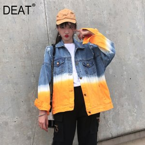 [DEAT] Loose Fit Spliced Mixed Color Hollow Out Denim Jacket New Lapel Long Sleeve Women Coat Fashion Tide Spring 13P148 201017