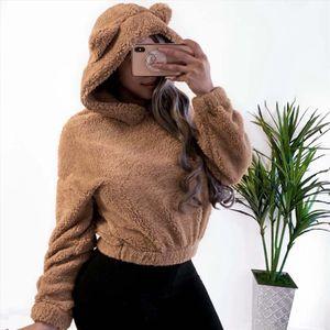 Ladies Fleece Hoodies Sweatshirts Faux Fur Pullover Tops Winter Warm Hoodie Fluffy Coat Women Long Sleeve Blouse Sweatshirt 2020