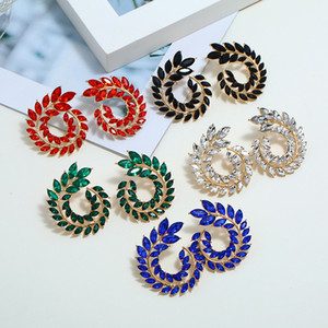 Fashion Hollow Out Spiral Colorful Leaves Drop Earrings Charm Rhinestone For Women Piercing Trendy Jewelry Wholesale