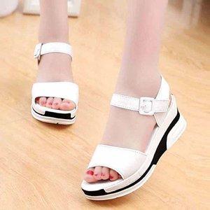 sandalsfashion de clássicos Mulheres Praia Grosso sapatos sandálias de fundo Sandals alfabeto da senhora do couro salto alto 07 P310
