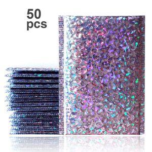 50PCS / Paquet Laser Argent Emballage d'expédition Bubble Mailer feuille d'or en plastique rembourré Enveloppe Sac cadeau Sac Enveloppe postale