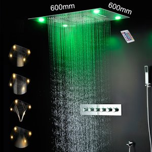24 inch rainfall waterfall mist large rain shower head ceiling recessed bathroom led shower set thermostatic high flow mixer