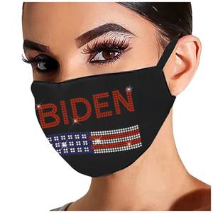 Maschera in cotone strass autunno e inverno personalità femminile stampa natale stampa natale nero sport flash diamante maschera antipolvere per Biden OOB3587