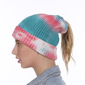 MYZOPER NewTie-dyed hat, knitted woolen cap, ladies hat For Women Girl Rainbow Tie Dye Soft Warm Cap Winter Lady Gifts
