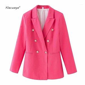 Klacwaya Donne Solid Blazers 2020 Moda Signore Single Breasted Tasche Abiti regolari Elegante Ufficio femminile Elegante Lady1