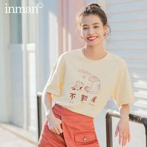 INMAN 2020 Summer New Arrival Literary Pure Cotton Nifty Cartoon Printed Loose Slimmed Short Sleeve T-shirt