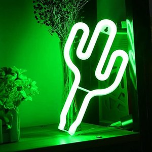 Green Cactus Neon Light Signs Led Decoration Lights Battery Usb Powered Cactus Lamps Neon Signs Light Up Children's Room Bedroom Swy wmtUgx