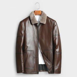 남자 가죽 가짜 ayusnue 2021 정품 자켓 남자 가을 겨울 100 % 진짜 양피 코트 파카 재킷 Veste Cuir Homme 17061