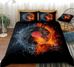 Record Duvet Cover Set Record on Fire Water Bedding Black Music Bed Set Red Teens King Flame Home Textiles Microfiber Dropship