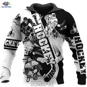 SONSPEE Amour Hockey 3D Print Men Hoodie Casual Harajuku manches longues Sport Manteau Taille Plus Streetwear Sweat-shirt Tops 1019