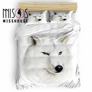MISSHOUSE animal White Wolf edredon cobrir Set Roupa de cama Consolador Tampa Fronhas Bedding Sets wWSw #