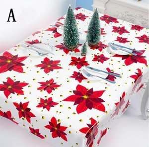 1.1*1.8m PVC Rectangle New Year Tablecloth Poinsettia Mistletoe Disposable Christmas Wipe Table Clean Plastic With Cloth DHD2270 Oilclo Ilvp