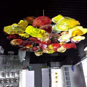 Moderne en verre de Murano Lustres d'appareils d'éclairage Big Flush Taille Monté Fleurs plafond Lustre Lampe LED Accueil Hôtel intérieur du Club Lumière