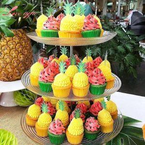 1 set flamingo ananas Palm Cupcake Toppers Aloha Toppers Estate Piscina Party Matrimonio Compleanno Baby Doccia Decorazioni Fornitures1