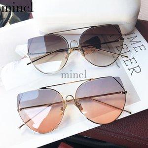 2020 Oversized Retro Round Sunglasses Women Designer Vintage cat Sun Glasses For Female Eyewear punk Mirror Purple Glasseses NX