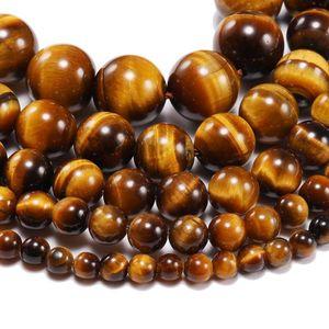1 Intrand lote 4 6 8 10 12mm AAA pedra natural amarelo tigre olho agat redondo grânulos soltos espaçador talão para jóias fazendo h jlleok