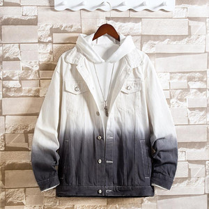 2020 men gradient denim jacket youth loose color matching jean jacket lapel