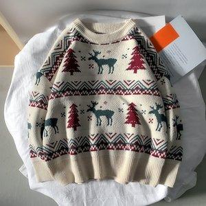 Japonês retro harajuku christmas christmas camisola redondo pescoço pulôver paral de camisola homens e mulheres acolchoado camisola 201124