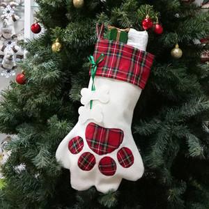 Paw Weihnachtsstrumpf Plaid Geschenktüte Weihnachten Strümpfe Socken Weihnachtsbaum hängende Ornamente Dekorationen Partei-Dekor Pendent GGA3781-3