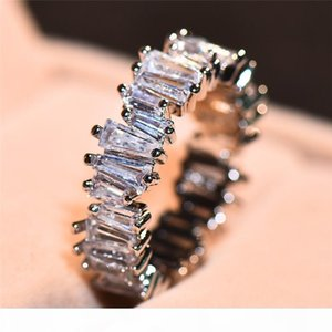 K Hot Sell Drop Shipping Luxury Jewelry Real 925 Sterling Silver T Shape White Topaz Cz Diamond Women Wedding Band Ring For Mothers &#0