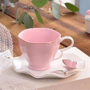 OUSSIRRO Exquisite Schmetterlings-Vogel-Top Bone China 220ml Kaffeetasse Untertasse Freie Löffel Keramik Teacup europäischen Porzellan-Tee-Tumble C1106