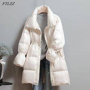 FTLZZ 2020 mujeres del invierno del soporte cuello del abrigo largo de Down Parka color sólido de manga larga de encaje arriba hacia abajo de la cremallera chaqueta caliente Outwear la nieve