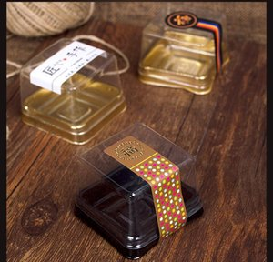 2021 50g moon cake trays moon cake packaging boxes gold black plastic bottom transparent cover