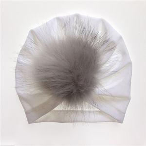 Girl Baby Toddler Infant Cotton Turban India Accessories Velvet Beanie Hat Hair Ball Warm Cap FXDZ