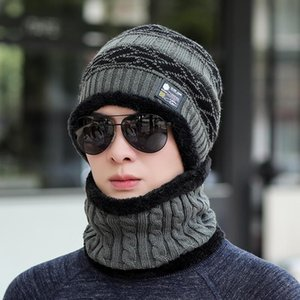 Cappello di lana maschile autunno e inverno moda moda personalità coreana uomo cappello a maglia inverno inverno caldo moda marca a due pezzi Bib Set gratuito
