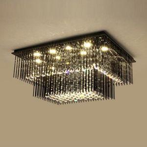2 층 현대 크리스탈 Ceiiling 샹들리에 블랙 램프 AC110V 220V 광택 주도 거실 침실 조명 MYY