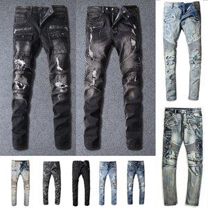 Balmain Mens Designer Jeans Distressed Ripped Biker Slim Fit Motard Denim pour les hommes Mode Mans Pantalons noir pour hommes 2021