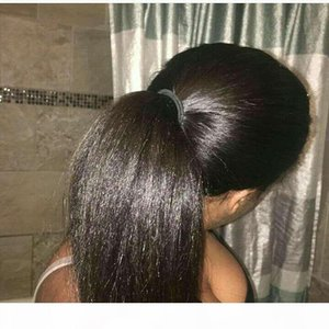 Venta al por mayor Brasileño Kinky Straight Straighttail Hair Pelo Natural Hair Payas PonyTail Extensiones 10-22inch Virgin Human Hair Italian Yaki