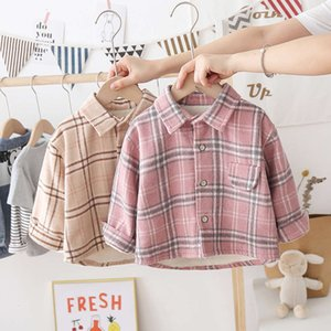 autumn middle Plaid 3 girls' Long small frosted Sve Boys' and winter Plush Shirt 2020 Korean children's clothing 4
