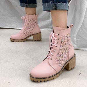 Brand New Big Größe 45 Weibliche Arbeit Knöchelstiefel Rutschfeste Gummi Sohle Chunky Ferse Platform Mode Winter Boots Schuhe Frauen