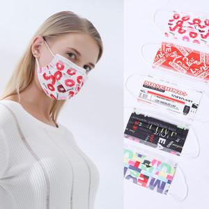eritilerek şişirilmiş kumaş erkek ve kadın yetişkin harflerle Yeni moda koruyucu tek toz geçirmez nefes alabilen maske üç katmanlı baskı maskesi