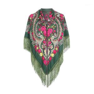 Scarf Russian Shawl Women's Head Wrap Hijab Babushka Ukrainian Scarves Square Blankets Tassel Retro Handkerchief Foulard Femme1
