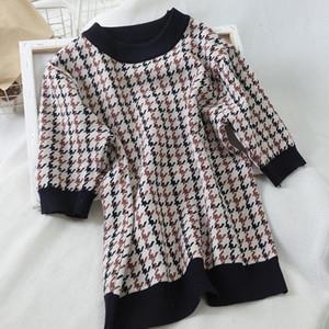 2020 Korean Fashion Vintage Plaid Knitted Tops T Shirt Women Short Sleeve T-Shirt Tee Shirt Femme Knitwear Camisetas Mujer