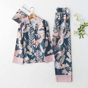 2021 클래식 봄 긴 여성용 잠옷 턴 다운 칼라 미세한 집 의류 2 Girly Loungewear Ajxd Suits