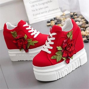 Spring Autumn Fashion Women 12.5cm Height Increasing White Wedges Sneakers Red Flowers Comfortable Platform Canvas Casual Shoes #HK0O