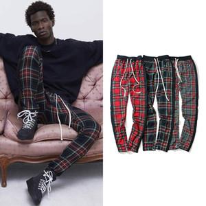 Vintage Scottish Plaid Sweatpant Justin Bieber Tartan Track Pants Mens Drawstring Ankle Strap Zip Patch Hip-hop Jogger for Men 201004