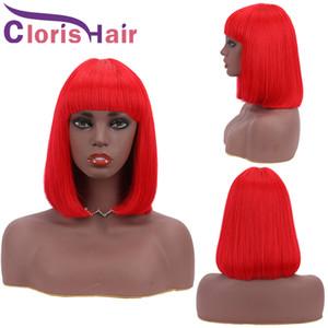 Pixie Red Cut Bob perruque 100% humaine Cheveux raides Brésil Remy court Glueless perruques avec une frange pour les femmes noires de couleur rouge avant non dentelle perruque