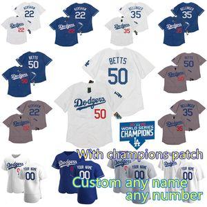 2020 campeones de la Serie Mundial 50 Mookie Betts Dodgers Jersey Cody Bellinger Corey Seager Justin Turner Clayton Kershaw Walker Buehler Muncy