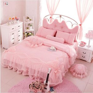 Cotton lace embroidery wedding bedding without filling Korean Princess 3 4pcs bed set twin full queen king size free shipping
