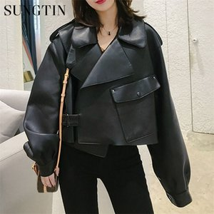 Sungtin Faux женщин Soft Сыпучие Vintage Biker Short Карманы Motor PU Black Jacket Осень Street Leather Coat Y201012